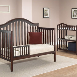 "Sorelle - Lynn 4-in-1 Convertible Crib Set - Sorelle cribs, changing tables and more are custom made with a design that flawlessly integrates form and function. Suitable for newborns and toddlers, the Lynn 4-in-1 Convertible Crib can convert from a crib to a day bed, toddler bed and full-sized headboard and footboard. Features: -Lynn collection. -Crib easily converts to daybed, toddler bed, and full size bed . -Recessed hardware for baby's protection. -Non-toxic finish. -Exceeds all U.S. Consumer Product Safety Commission Standards . -Crib has three mattress levels, so that mattress can be lowered as child grows and is able to stand in crib. -Toddler conversion rail included. -Optional full size conversion rails transforms crib into daybed or full bed. -This is a NON-Drop Side crib. Dimensions: -Changing table: 34"" H x 19.5"" W x 34"" D, 40 lbs. -Crib: 47"" H x 52"" W x 55"" D, 90 lbs. This Crib is approved for use in the United States."