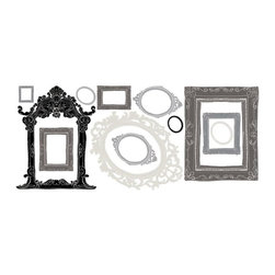 RoomMates Peel & Stick - Metallic Frames Giant Wall Decals - Display your photos in style no nails required! These elegant peel and stick photo frames in shades of black, gray, and silver will dress up any bedroom, dorm, or living space in just seconds, and give you a fast and easy way to show off photographs, art, or anything else you please. Application is easy: just peel each pre-cut decal from the sheet, cut your photo of choice to fit the frame, and apply the sticker to the wall. Like all RoomMates, these decals are removable and repositionable, and can be applied to any smooth surface. Use them individually as accent pieces, or put them all together to make a truly unique gallery wall!