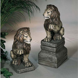 Henri Studio - Lion with Raised Paw Garden Statue - 2540L-EB - Shop for Statues and Sculptures from Hayneedle.com! What We Like About This Garden Statue For the homeowner with a flair for show these cast-stone lions represent the most impressive and stoic entryway imaginable. Looks great standing alone or as a pair.