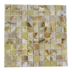 Rustic White Polished Square Pattern Mesh-Mounted Onyx Tiles - 1 in. x 1 in. Rustic White Mesh-Mounted Square Pattern Onyx Mosaic Tile is a great way to enhance your decor with a traditional aesthetic touch. This polished mosaic tile is constructed from durable, impervious onyx material, comes in a smooth, unglazed finish and is suitable for installation on floors, walls and countertops in commercial and residential spaces such as bathrooms and kitchens.