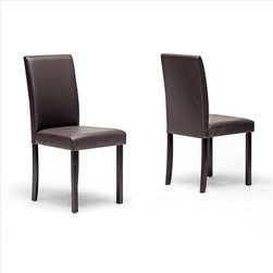 "Wholesale Interiors - Baxton Studio Susan Parsons Chair (Set of 2) - Looking to highlight a table setting or centerpiece with a simple, neutral dining chair? The Susan Chair is an ideal option when simplicity and minimalism is your mantra. Features of this versatile chair include dark brown wood legs, dark brown faux leather seat upholstery, and foam cushioning. Features: -Set of two dining chairs.-Wooden frame.-Modern style.-Polyurethane foam cushioning.-Wipe clean.-Seat upholstered in dark brown faux leather.-Wenge finish legs.-Baxton Studio collection.-Collection: Baxton Studio.-Finish: Dark Brown.-Distressed: No.-Frame Material: Wood.-Non-Toxic: Yes.-Upholstered Seat: Yes -Seat Upholstery Material: Faux Leather.-Seat Upholstery Color: Dark Brown.-Removable Seat Cushions: No.-Removable Seat Cushion Cover: No.-Tufted Seat Upholstery: No.-Welt on Seat Cushions: No..-Upholstered Back: Yes -Back Upholstery Material: Faux Leather.-Back Upholstery Color: Dark Brown.-Removable Back Cushions: No.-Removable Back Cushion Cover: No.-Tufted Back Upholstery: No..-Nailhead Trim: No.-Swivel: No.-Foldable: No.-Stackable: No.-Number of Legs: 4.-Leg Material: Wood.-Casters: No.-Protective Floor Glides: Yes.-Adjustable Height: No.-Outdoor Use: No.-Swatch Available: No.-Commercial Use: No.-Recycled Content: No.-Product Care: Wipe clean. Leather cleanser and conditioner..Dimensions: -Overall Height - Top to Bottom: 36"".-Overall Width - Side to Side: 18.5"".-Overall Depth - Front to Back: 17"".-Seat Height: 18"".-Seat Width - Side to Side: 17"".-Seat Depth - Front to Back: 16"".-Arms: No.-Overall Product Weight: 17.6 lbs.Assembly: -Assembly Required: Yes.-Tools Needed: Screwdriver.-Additional Parts Required: No."