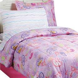 Texstyle LLC - LOL Texting Girls Full Comforter Sheets Shams Bedskirt Set - Features:
