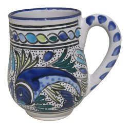 Le Souk Ceramique - Aqua Fish Large Mug - Set of 4 - Set of 4. 16 Fluid Ounces. Hand Painted . Hand Made . Dishwasher safe . Microwave safe . Made in Tunisia. Lead free glazes . Meets CA Prop 65 . Meets all Federal StandardsThe Aqua Fish pattern is a classic. Drenched in cool hues of azure, aqua and sea green and a coveted deep cobalt blue, Aqua Fish is a design awash in fun. Just imagine a summer seafood feast served with these bowls and platters.