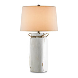 Currey & Company - Sailaway Table Lamp - Come Sailaway with this beautiful Emery Rust and White Crackle, Terracota table lamp. With authentic rope ties and a fine natural finish, the Sailaway lamp is an ideal choice for the nautical minded.