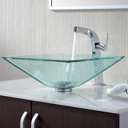 Kraus - Kraus Clear Aquamarine Glass Vessel Sink with Typhon Faucet - Add a touch of elegance to your bathroom with a glass sink combo from Kraus.