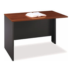 Bush Business - 48 in. Return Bridge Hansen Cherry Computer D - Add this bridge desk to your existing desk to add some extra space.  It can be attached by either the right or left side.  The desk comes complete with a modesty panel to hide your wires and cables and is supplied with a scratch and stain resistant Diamond Coat surface. * Diamond Coat� top surface is scratch and stain resistant. Mounts to any desk as right or left return. Modesty panel grommet allows wire access and concealment. Connects two desk shells as bridge. Accepts Keyboard Shelf or Pencil Drawer. Durable PVC edge banding protects desk from bumps and collisions. Hansen Cherry finish. 47.677 in. W x 23.346 in. D x 29.842 in. H