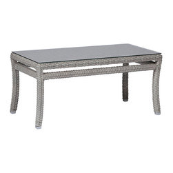 Frontgate - Club Woven Outdoor Coffee Table - Ideal for any environment, including oceanfront and saltwater destinations. high-quality; resin wicker provides superior UV resistance and is formulated for a realistic look and feel. Offered in Oyster or French Linen finish. Coffee Table requires some assembly. The Club Woven Coffee Table by Summer Classics features elemental styling with items that can mix with other collections or combine together to create an inviting outdoor room. Durable wrought aluminum frames are hand woven with high-quality; all weather resin wicker, providing high UV resistance and an authentic look and feel. These innovative materials, blended with Club Woven's classic style, offer the perfect outdoor retreat for any open-air setting, including beach and salt water environments. . . . .