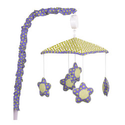 Cotton Tale Designs - Periwinkle Mobile - A quality baby bedding set is essential in making your nursery warm and inviting. All Cotton Tale patterns are made using the finest quality materials and are uniquely designed to create an elegant and sophisticated nursery. Periwinkle musical mobile has star shaped flowers in periwinkle dot dancing around a green lattice canopy with trim and arm cover in periwinkle dot. Wind up mechanism plays Brahms Lullaby. Basic assembly required, hardware fits most all cribs and for those it does not fit a wall mount is included. Mobiles are not toys and should be removed from crib when baby starts to sit up and pull up. Canopy and pieces 100% cotton. Made for a girls nursery.