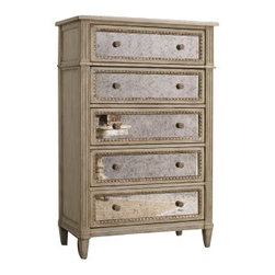 Hooker Furniture - Five Drawer Chest, Pearl Essence - This chest is stately and proud, with fluted columns, egg and dart molding and silvery drawer fronts and knobs. Awash in a beachy oyster finish, it's layered and distressed in tans, creams and grays — and strikes the right balance between masculine and feminine, modern and traditional.