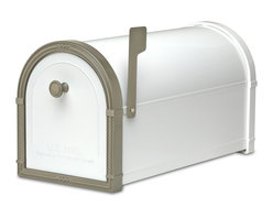 """Architectural Mailboxes - Bellevue Post Mount Mailbox White with Bronze Accents - """"Neither rain nor snow… """" You can count on this good looking mailbox to keep your incoming mail secure from the elements for many years to come."""