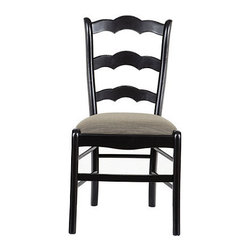 Ballard Designs - Set of 2 Genoa Side Chairs with Linen Seat - Crafted in Italy. Covered in heavy 12-oz. linen in your choice of color. Coordinates with our Genoa Stools. This comfortable side chair is hearty, generous and relaxing like a big Italian meal. The solid beech wood frame has a curved, scalloped ladder back and a wide, cushioned seat that begs you to linger over your morning cappuccino. Seat is removable for easy recovering of your own fabric. Part of our exclusive Casa Florentina collection, the Side Chair is available in your choice of linen and several hand-applied finishes. Skilled Italian artisans apply your custom finish in layers, distressing each one by hand using the same simple tools and techniques employed by Florentine artists for centuries. Genoa Side Chair features: . . .