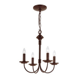 Trans Globe Lighting - Colonial Energy Saving Four-Light Chandelier In Bronze - - Glass Type: No Shades, use decorative bulbs  - Indoor use  - Material: Metal  - Bulb not included  - Easy installation. Decorate with beads and garland to create a new look.  - Candle bulb stems with flat dish cups  - Comes with 6' chain and wire  - Steel wire chandelier chassis for antique look  - Traditional Colonial indoor lighting  - 1 year parts repair and replacement  - Colonial indoor chandelier brings back 19th century style to home lighting. Perfect for period lighting decor. Trans Globe Lighting - 9014ROB