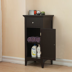 None - Bayfield Floor Single-door/ Single-drawer Cabinet - This Bayfield espresso cabinet makes an excellent accessory for storing items out of sight. It has a louvered door and a drawer with stylish chrome knobs. The door is a simple way to keep items such as toiletries and cleaning supplies hidden.