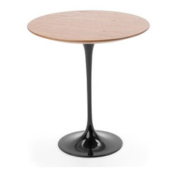"""Knoll - Saarinen Round Side Table - """"The underside of typical chairs and tables makes a confusing, unrestful world,"""" said esteemed Finnish designer Eero Saarinen. """"I wanted to clear up the slum of legs."""" Thus in 1957 Saarinen unveiled his ground-breaking collection of pedestal coffee, dining and side tables, whose simple elegance has endured for 50 years. Stylish and modern, the Saarinen Round Side Table is a design masterpiece that fits seamlessly into any environment. THE DESIGN   FEATURES AT A GLANCE   DIMENSIONS   ORDER WITH CONFIDENCE The Design Eero Saarinen might be considered by some to be a purist when it came to his approach towards architecture and interior design. He sought the essential idea and reduced it to the most effective structural solution within an overall unity of design. When he designed his pedestal collection, including the Round Side Table, Saarinen realized his ideal of formal unity: """"Every significant piece of furniture from the past has a holistic structure."""" To celebrate the 50th anniversary of Saarinen's revolutionary Tulip Collection, Knoll has introduced a platinum finish option and has reintroduced teak and rosewood tabletop finishes. Back to Top *This product is made to order and thus customer orders cannot be canceled once the products go into production Features at a Glance: Design Year: 1956 Tabletop: -Laminate top. -Made of 1.06"""" thick, bevel-edged satin smooth white laminate. -Made in Europe edium Arabescato Coated Marble. -Coated marble top . -Made of 3/4""""-thick, bevel-edged coated marble. -Transparent polyester coat helps prevent use-associated stains. -Please note that marbles with polyester coating will yellow over time. -Made in Europe . -Natural marble top . -Made of 3/4""""-thick, bevel-edged natural marble in a protective sealer. -Made in the United States or Canada. -Natural granite top . -Made of 3/4""""-thick granite in a protective sealer with black finish. -Made in the United States or Canada . -Wood veneer top . -Made"""