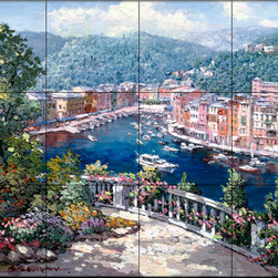 The Tile Mural Store (USA) - Tile Mural - Portofino Two - Kitchen Backsplash Ideas - This beautiful artwork by Sam Park has been digitally reproduced for tiles and depicts a nice view of Portofino.  Waterview tile murals are great as part of your kitchen backsplash tile project or your tub and shower surround bathroom tile project. Water view images on tiles such as tiles with beach scenes and Mediterranean scenes on tiles Tuscan tile scenes add a unique element to your tiling project and are a great kitchen backsplash idea. Use one or two of our landscape tile murals for a wall tile project in any room in your home for your wall tile project.