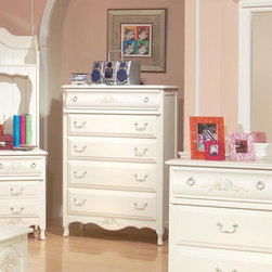 American Woodcrafters - Summerset 5-Drawer Chest Multicolor - 67100-150 - Shop for Dressers from Hayneedle.com! The shabby chic style reminiscent of the French countryside is the inspiration for the Summerset 5 Drawer Chest. This feminine chest has a fresh white finish with light translucent distressing. The top drawer and the base panel feature a floral motif in pastel greens blues yellows and soft reds with amber petals. This chest is not only elegant and perfect for your little girl's room it also features top-quality construction.Additional features of the Summerset 5 Drawer Chest include:Solid wood and wood veneer constructionTops and end panels are framed with pine solids and pine veneer panelsFeature decorative shaped feetTop drawer is curved and features a floral motifAntique brass finish ring pulls swinging bails and delicate rosette back platesTenon and mortise constructionDrawers are dovetailed front and backSolid wood drawer sides and backsVeneer drawer bottomsDrawer fronts are reconstituted MDF wood fibersCenter guided drawers metal to metal plastic to plastic with positive drawer stopsAll drawers are 14.5-inches front to back