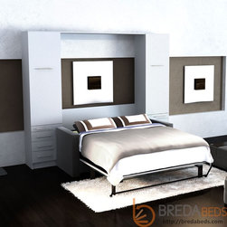 InLine Murphy Bed with Hutches and InLine Sofa - Murphy bed and sofa in one beautiful piece of furniture. BredaBeds offers premium function and a beautiful design.