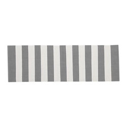 Olin Gray Runner - An uninspired hallway would find its soul with this striped runner. It is bold enough to hold its own, but it wouldn't stand in the way of any other decorative elements.