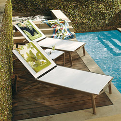 "Frontgate - Newport Set of Two Outdoor Chaise Outdoor Lounge Chairs, Patio Furniture - The thick 2.0 mm gauge extruded aluminum frame is built for both residential and resort use. Large scale, yet easily relocates on backyard and promenade decks. Quick-drying, flexible mesh sling comes with a 3-year warranty. Powdercoated aluminum frame resists corrosion. Offered in your choice of Architectural Bronze with Taupe Sling or Champagne with White Sling. We engineered Newport Chaise to stand the test of time - and comfort. First, we considered proportion, making this chaise a roomy 33""W x 81""L. Then, we used only the best-quality components that would withstand weather and use. The sleek, powdercoated frame is made of 100% aluminum, which is both strong and substantial while being lightweight and corrosion resistant. The seamless, premium-quality mesh sling is supportive yet giving, and allows air to circulate to keep you cool.Part of the Newport Collection.  .  .  .  .  . Adjusts to four positions, from upright to fully reclined . Stacks for easy storage . Designed exclusively for Frontgate ."