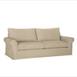 """PB Comfort Roll-Arm Slipcovered Grand Sofa, Polyester Wrap Cushions, Ticking Str - Sink into the grand sofa just once, and you'll know how it got its name. Designed with even deeper seats than our regular PB Comfort Sofa, the eco-friendly grand sofa offers 10"""" of extra width, inviting a whole family to relax together. 93.5"""" w x 42"""" d x 39"""" h {{link path='pages/popups/PB-FG-Comfort-Roll-Arm-4.html' class='popup' width='720' height='800'}}View the dimension diagram for more information{{/link}}. {{link path='pages/popups/PB-FG-Comfort-Roll-Arm-6.html' class='popup' width='720' height='800'}}The fit & measuring guide should be read prior to placing your order{{/link}}. Choose polyester wrapped cushions for a tailored and neat look, or down-blend for a casual and relaxed look. Choice of knife-edged or box-style back cushions. Proudly made in America, {{link path='/stylehouse/videos/videos/pbq_v36_rel.html?cm_sp=Video_PIP-_-PBQUALITY-_-SUTTER_STREET' class='popup' width='950' height='300'}}view video{{/link}}. For shipping and return information, click on the shipping tab. When making your selection, see the Quick Ship and Special Order fabrics below. {{link path='pages/popups/PB-FG-Comfort-Roll-Arm-7.html' class='popup' width='720' height='800'}} Additional fabrics not shown below can be seen here{{/link}}. Please call 1.888.779.5176 to place your order for these additional fabrics."""