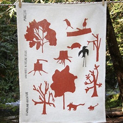 Makelike A Woodland Adventure Tea Towel - The A Woodland Adventure Tea Towel by Makelike comes from a true passion for pattern! This two–color tea towel is hand–screenprinted using water–based inks on 100% European linen.