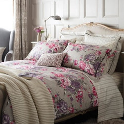 Bloomsbury Plum Duvet - Bloomsbury Plum bed linen features a timeless floral print combined with deep purples set against a soft neutral shade. Featuring a traditional ticking stripe on the reverse and a smart velvet detailing it is both feminine and elegant.  300 thread count, 100% cotton sateen. Button closure.