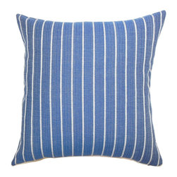 The Pillow Collection - Tarvos Stripes Pillow - Thic chic throw pillow will steal everyone's attention. This refreshing accent pillow features vertical stripes in white and set in blue background. This decor pillow is simple and perfect for casual settings. The fabric of this square pillow is made from 70% cotton and 30% polyester materials. Hidden zipper closure for easy cover removal.  Knife edge finish on all four sides.  Reversible pillow with the same fabric on the back side.  Spot cleaning suggested.