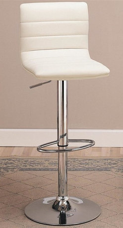 Coaster - Upholstered Barstool w Adjustable Height - Se - Set of 2. Contemporary style. Plush back and seat covered in rich faux leather. Shiny steel base with high polished chrome finish. Adjustable height mechanism from 33.75 to 42 in. high. Round footrest for comfort. 15.75 in. W x 15.75 in. D x 42 in. H. WarrantyThis cool contemporary faux leather bar chair will be a stylish addition to your casual dining and entertainment area. Transform your home into a fun hangout with this stylish bar stool.