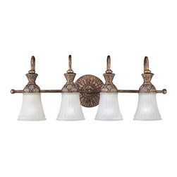 Sea Gull Lighting - Sea Gull Lighting-47253-758-Four Light Wall/bath Fixture - Four Light Decorative Bath Bracket in Regal Bronze Finish with Dusted Ivory Glass Shades.