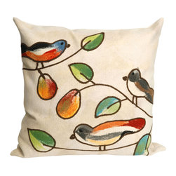 "Trans-Ocean - Song Birds Cream Pillow - 20"" SQ - The highly detailed painterly effect is achieved by Liora Mannes patented Lamontage process which combines hand crafted art with cutting edge technology.These pillows are made with 100% polyester microfiber for an extra soft hand, and a 100% Polyester Insert.Liora Manne's pillows are suitable for Indoors or Outdoors, are antimicrobial, have a removable cover with a zipper closure for easy-care, and are handwashable."