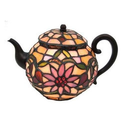 Stained Glass Teapot Accent Lamp Tiffany Style Tea Pot Kettle - This beautiful stained glass tea pot table lamp adds the perfect accent to your desk or nightstand. Measuring 6 1/2 inches tall, 10 inches wide and 7 inches deep, the lamp uses hundreds of small pieces of stained glass and mercury glass to complete a beautiful flower pattern. It comes with a five foot cord with a toggle switch. The lamp is brand new, never used or displayed. It uses one nightlight style bulb (not included). It makes a great gift. We have a very limited supply of these, so don't delay. Get yours now!
