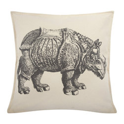 Thomas Paul - Rhino Canvas Pillow, Charcoal - If only it was possible to sew all the Thomas Paul pillows together into a sofa. It would be the most talked about sofa in town. All the bright colored fauna and flora, the patchwork of silk and linen--it would truly be a masterpiece. The only thing that keeps us from doing this is--we don't know how to sew. And then there is that business about somehow attaching legs. We're even more clueless on how to do that.