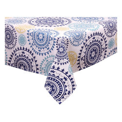 "Ladelle - Dyani Blue Tablecloth, 60"" x 120"" - A mix of blues with a touch of golden yellow on white, this tablecloth can bring a modern or summer party theme to the table."