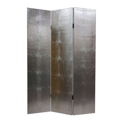 Silver-Tone & Faux Leather Crocodile Room Divider - 3 Panels