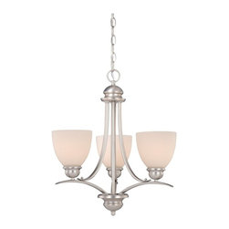 Vaxcel Lighting - Vaxcel Lighting Avalon Transitional 3-Light Chandelier X-NB300UHC-LA - In a rich brushed nickel finish, this attractive three-light chandelier features frosted opal glass shades and a transitional design that will add plenty of character to your decor. The Vaxcel Lighting Avalon Transitional chandelier illuminates the room with warm, general lighting.