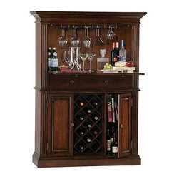 "Howard Miller - Howard Miller - Seneca Falls - The Cherry Finish Fold Out Bar & Wine Cabinet features an ingenious drop-down wooden door with a moisture resistant laminate surface. Up to 11 wine bottles can be stored below a convenient center drawer that provides storage space for accessories. The stylish and elegant Home Bar with Fold Out Surface, Wine & Liquor Storage features an ingenious drop-down wooden door that makes preparation & service a breeze! This versatile cabinet can store up to 11 bottles in a wooden wine rack. Its Americana Cherry finish is an asset to its finely routed details. * The drop-down wooden door features a moisture resistant laminate surface which provides a handy shelf for serving food and mixing cocktails. A large center drawer features metal guides, and provides storage for utensils, bar cloths, and other items. The lower cabinet features a wooden wine rack with storage capacity of 11 bottles. Finished in Americana Cherry on select hardwoods and veneers. Auto-on Light is a ""smart"" light switch that turns on automatically when a door is opened, and off when closed. Adjustable levelers under each corner provide stability on uneven and carpeted floors. Locking door for added securityH. 66"" (168 cm) x W. 48"" (122 cm) x D. 19"" (48 cm)"