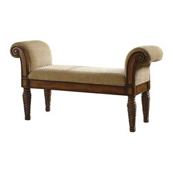 Coaster - Coaster Upholstered Bench with Rolled Arms - Coaster - Living Room Benches - 100224 - That stately upholstered bench will make a statement in your entryway hallway bedroom or living room. A beautifully detailed wood base is accented with turned post legs and curved armrests with detailed carvings. A cushioned seat is upholstered in a neutral fabric that continues on the rolled arms for plush comfort. Use this upholstered bench with arms anywhere you need additional seating and a hint of traditional style. Benches are beloved for their unique pairing of chic seating with stylish storage capabilities. From classic to contemporary traditional to transitional this versatile collection of accent benches has a variety of styles that are sure to strike your fancy. Neutral upholstery finished with nail head trim. Plush cushioned seats with tufted button details. Even a bold zebra print that perks up existing decor with a slightly playful vibe. And convenient storage that manifests itself in virtually every manner from drawers and cabinets tucked below the base of the bench to compact compartments that feature woven baskets for stowing shoes and everyday items neatly out of sight. Tuck into a corner place at the end of a bed or take the more traditional route and slide under a vanity. Regardless of which style you choose this complete collection of storage benches is sure to inspire.