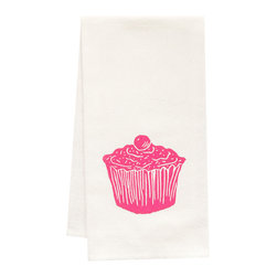 "artgoodies - Organic Cupcake Tea Towel - This high quality 100% certified organic cotton tea towel was custom made just for artgoodies! Hand printed with one of my original linocut block print images it measures 20""x28"" and comes wrapped in a green ribbon made from 100% recycled plastic bottles! Nice and absorbent for drying dishes, looks great when company is over, and makes a great housewarming gift!"