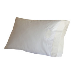 "Taylor Linens - Good Morning White & Cream Pillowcase - Start each day with a gracious greeting. The words ""Good Morning"" are daintily embroidered on a cream-colored emblem adorning the edge of this snowy cotton mill percale pillowcase. The emblem's cream-colored background is repeated on the placket, adding to the pillowcase's vintage charm."