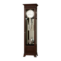 Howard Miller - Contemporary Kristyn Anniversary Grandfather - The grandfather clock just got an update! This one has an impressive modern style with its white dial and dots to mark all the hours except twelve o'clock. Locking door has clear glass front while mirrored back reflects pendulum and weights. Espresso finish. 83rd Anniversary Edition. Finished in Espresso on select hardwoods and veneers. This floor clock features a sophisticated flat top design with reeded panel inserts and a gracefully curved base. The white dial features brushed nickel accented hands and hour markers. A brushed nickel finished bezel frames the dial. Features brushed nickel-finished weight shells and grid pendulum. Glass mirrored back panel. Removable glass, top side panels offer easy access to the movement. Cable-driven, Westminster chime Kieninger movement plays 1/4, 1/2, and 3/4 chimes accordingly with full chime and strike on the hour. Automatic nighttime chime shut-off option. The case is illuminated by an interior light. Adjustable levelers under each corner provide stability on uneven and carpeted floors. 22 in. W x 15 in. D x 81.5 in. H
