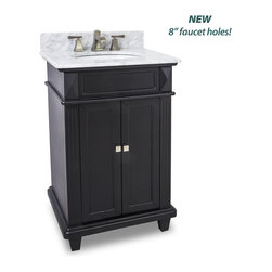 "Hardware Resources - Elements Bathroom Vanity - Douglas Black Vanity with Preassembled Top and Bowl by Bath Elements This 24"" wide MDF vanity features a sleek black finish, clean lines and tapered feet to give a modern feel. A perfect alternative to a pedestal sinks. A large cabinet provides storage. This vanity has a 2CM white marble top preassembled with an H8809WH (15"" x 12"") bowl, cut for 8"" faucet spread, and corresponding 2CM x 4"" tall backsplash. - Vanity: 24"" x 22"" x 35"" (with top),Style: Transitional,Finish: Black,Materials: MDF,Top: 2CM white marble with 2CM x 4"" tall backsplash,Bowl: H8809WH,Coordinating Mirror: MIR057,Faucet must be purchased separately"
