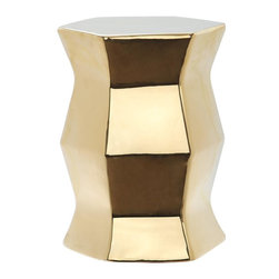 Safavieh - Audric Garden Stool - Form and function live in harmony in the Audric indoor-outdoor garden stool. Though it looks like modern art for the porch or living room, its sculptural shape is crafted of glazed ceramic in plated gold, and it serves as either seat or table.