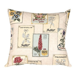 Pillow Decor - Vintage Seed Packet Throw Pillow - If you're a gardener who also knows a thing or two about home style, this charming throw pillow is for you. A bevy of vintage seed packets adorns this piece in a geometric pattern that's softened by the variety of floral shapes. In vintage shades of bone, red and green, this accent piece is ideal for antique and eclectic styles.