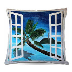 DiaNoche Designs - Pillow Woven Poplin - Window To Paradise - Toss this decorative pillow on any bed, sofa or chair, and add personality to your chic and stylish decor. Lay your head against your new art and relax! Made of woven Poly-Poplin.  Includes a cushy supportive pillow insert, zipped inside. Dye Sublimation printing adheres the ink to the material for long life and durability. Double Sided Print, Machine Washable, Product may vary slightly from image.