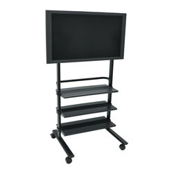 Luxor - Luxor Universal Mobile Lcd/Flat Panel Tv Stand With Mounting Brackets Fit - H Wilsons WFP100 is a universal flat panel stand. The mount will accommodate up to a 32- 60 display. The WFP100 has a large footprint that provides stability and prevents tipping. The spacious three plastic shelves measure 29W x 13 D. The handle is built in for easy mobility. 3 easy roll casters. Easy Assembly. Lifetime warranty.