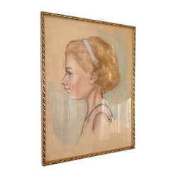 Drawing of Young Blonde Girl - This beautiful drawing of a young blonde girl is brought to us by LA Design diva Vanessa De Vargas. Last purchased from a vintage store in Venice Beach. Add this to your portrait gallery wall! In great condition, frame is clean with out any damage. No yellowing of the drawing.
