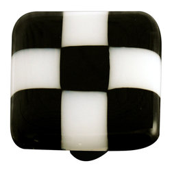 """Aquila Art Glass - Art Glass Checked Knob, Black Post, Black White Squares - To make our cabinet knobs and pulls, 2 to 5 pieces of glass are cut, cleaned, stacked together and placed into a kiln. The kiln goes up to 1450 degrees Fahrenheit, the glass becomes molten and fuses together to make one piece of glass. The glass is then cut out out to the required shape. Next the glass is placed back into a kiln and taken to 1300 degrees fahrenheit and the edges are """"fire polished"""". The glass spends about 48 hours in the kilns. Expect slight variations in color & size."""