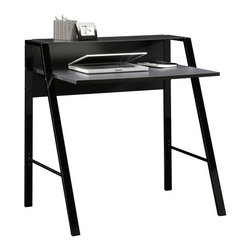 """Sauder - Beginnings Desk - Features: -Silk-screened black pattern on glass adds visual interest.-Elevated shelf features safety-tempered glass.-Cord management.-Steel frame construction for durability.-Beginnings collection.-Desk Type: Desk.-Top Finish: Engineered Wood.-Base Finish: Black steel frame.-Powder Coated Finish: No.-Gloss Finish: No.-UV Finish: No.-Hardware Material: Metal.-Non-Toxic: Yes.-Water Resistant: No.-Stain Resistant: Yes.-Heat Resistant: Yes.-Style: High Tech Contemporary.-Design: Rectangular.-Hardware Finish: Steel.-Distressed: No.-Collection: Beginnings.-Eco-Friendly: Yes.-Cable Management: Yes.-Keyboard Tray: No.-Height Adjustable: No.-Drawers Included: No.-Jewelry Tray: No.-Exterior Shelving: Yes -Number of Exterior Shelves: 1.-Adjustable Exterior Shelving: No..-Cabinets Included: No.-Ergonomic Design: No.-Handedness: both.-Scratch Resistant: Yes.-Chair Included: No.-Legs Included: Yes -Number of Legs: 4.-Leg Material: Steel.-Leg Glides: No..-Casters Included: No.-Hutch Included: No.-Treadmill Included: No.-Cork Back Panel: No.-Modesty Panel: No.-CPU Storage: No.-Built In Outlet: No.-Built In Surge Protector: No.-Light Included: No.-Finished Back: No.-Tipping Prevention: No.-Modular: No.-Lifestage: Teen-adult.-Commercial Use: No.-Product Care: Wipe with damp cloth.-Weight Capacity: 40 lbs.-Swatch Available: No.-Recycled Content: Yes -Remanufactured/Refurbished : No..Specifications: -FSC Certified: Yes.-EPP Certified: Yes.-CARB Compliant: Yes.-ISTA 3A Certified: Yes.-Green Guard Certified: No.-ANSI BIFMA Certified: No.-SCS Certified: No.Dimensions: -Overall Height - Top to Bottom: 35"""".-Overall Width - Side to Side: 34.61"""".-Overall Depth - Front to Back: 22.76"""".-Desk Return: No.-Credenza: No.-Bridge: No.-Cabinet: No.-Drawer: No.-Shelving: -Shelf Width - Side to Side: 34.625"""".-Shelf Depth - Front to Back: 9.25""""..-Seat: No.-Desktop Width - Side to Side: 31.5"""".-Desktop Depth - Front to Back: 22.5"""".-Hutch: No.-Legs: Yes.-Overall Product Weight: 35"""