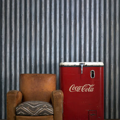 Corrugated Steel Wallpaper - Steel - Bring a quirky trompe l'oeil effect to your favorite eclectic setting. This coated wallpaper realistically mimics corrugated metal for a cool industrial-chic vibe.