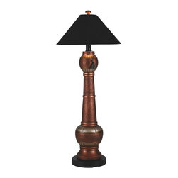 "PLC - Phoenix Copper Outdoor Floor Lamp with Black Sunbrella Shade - Add casual elegant styling to your outdoor living area.  Features all resin construction with a heavy weighted copper and brushed silver base. Completely weatherproof with a black Sunbrella shade cover, two level dimming switch and a 12 ft. cord.  Unbreakable poly-carbonate waterproof light bulb enclosure allows the use of a standard 100 watt light bulb.  Dimensions: 25"" L x 25"" W x 60"" H."